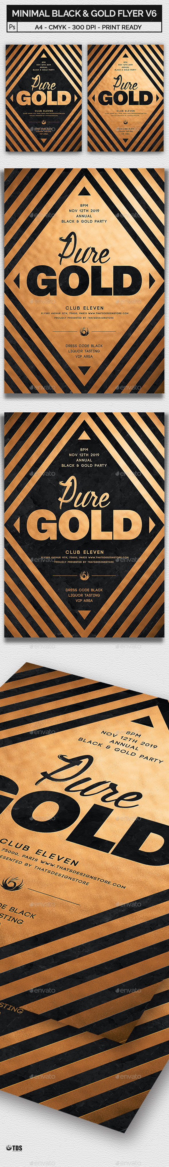 Minimal Black and Gold Flyer Template V6 - Clubs & Parties Events