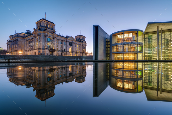 Reichtsag and Paul-Loebe-Haus in Berlin at dawn - Stock Photo - Images
