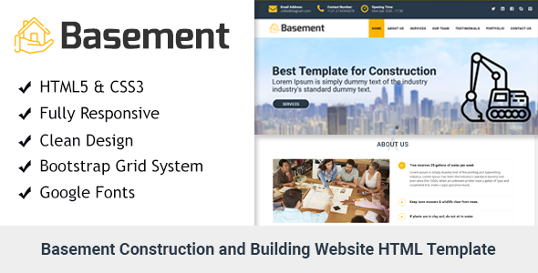 Image of Basement- Construction and Building One Page HTML Template