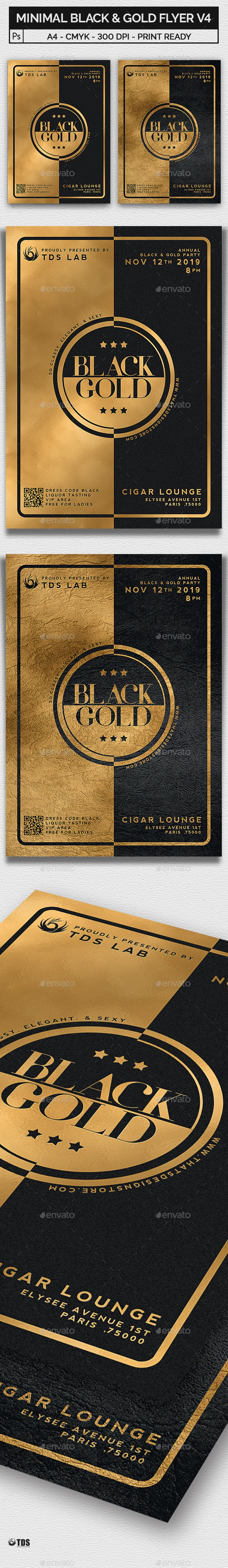 Minimal Black and Gold Flyer Template V4 - Clubs & Parties Events