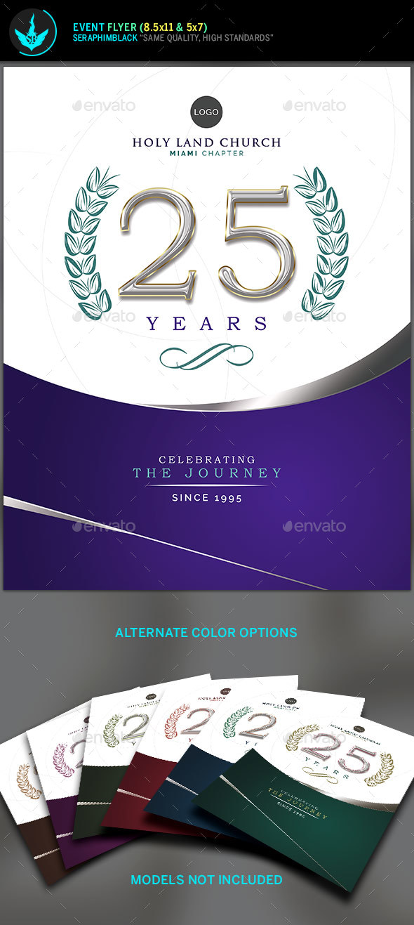 Regal Purple and Silver Church Anniversary Flyer Template by ...