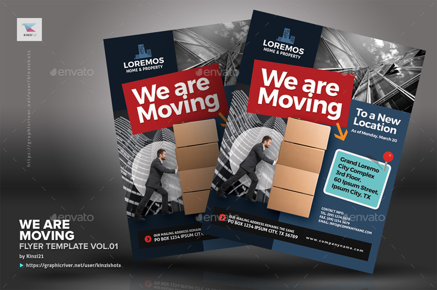 We Are Moving Flyer Vol By Kinzishots GraphicRiver - Moving company flyer template