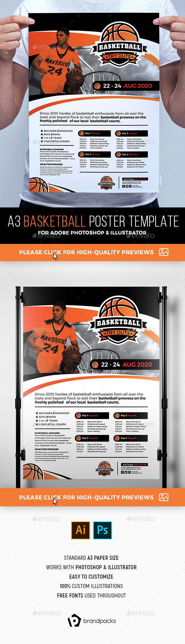 Basketball Poster Template - Sports Events