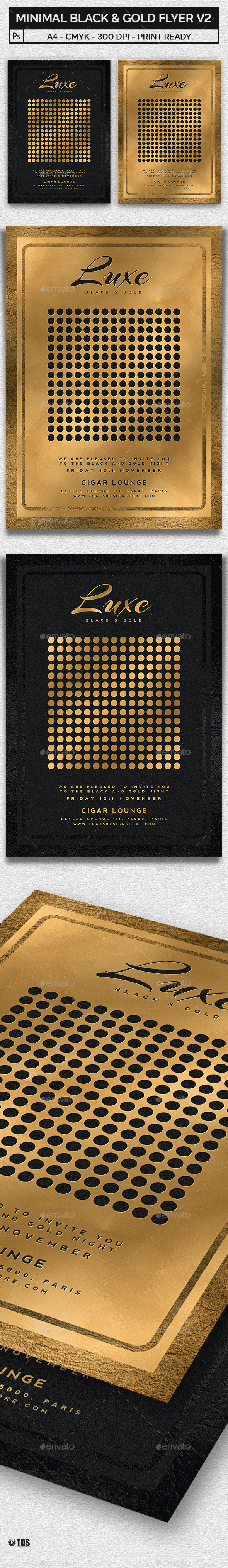 Minimal Black and Gold Flyer Template V2 - Clubs & Parties Events