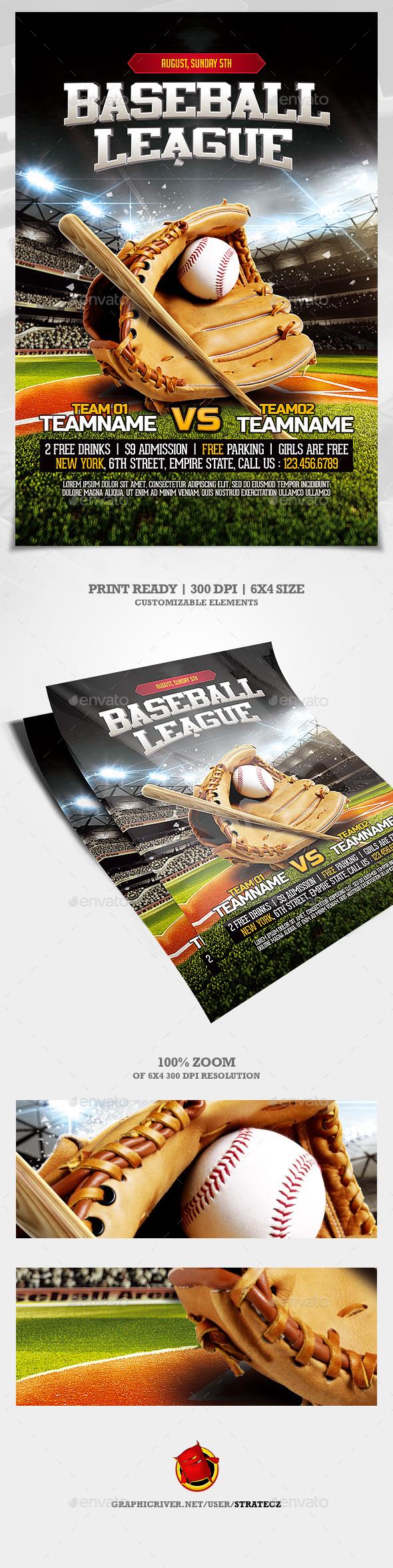 Baseball League Flyer - Print Templates