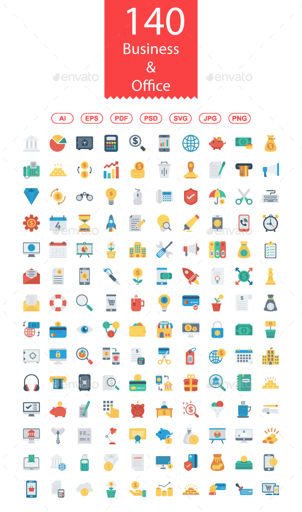 140 Business and Office Flat icons - Business Icons
