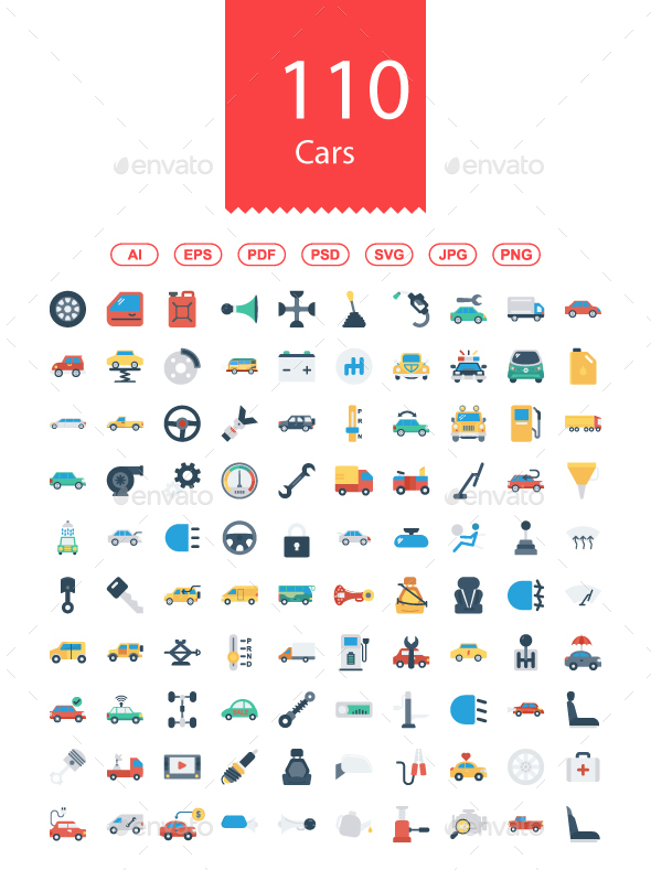 100 Cars Flat icons - Business Icons