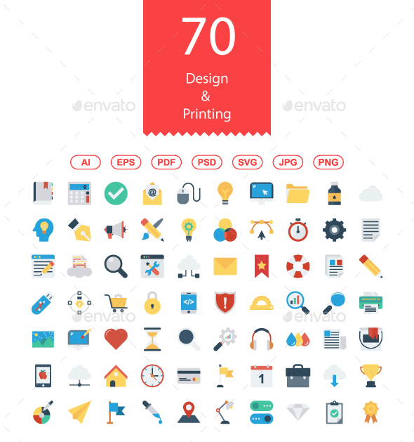 70 Design & Printing Flat icons - Business Icons