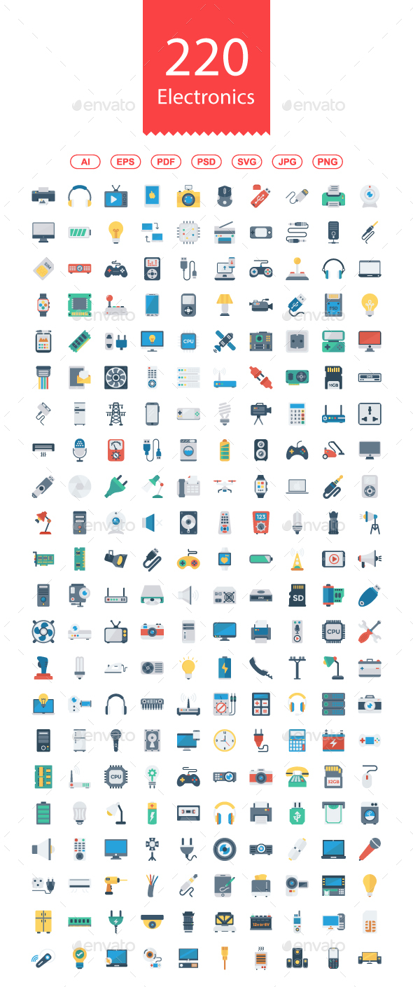 200+ Electronics Flat icons - Business Icons