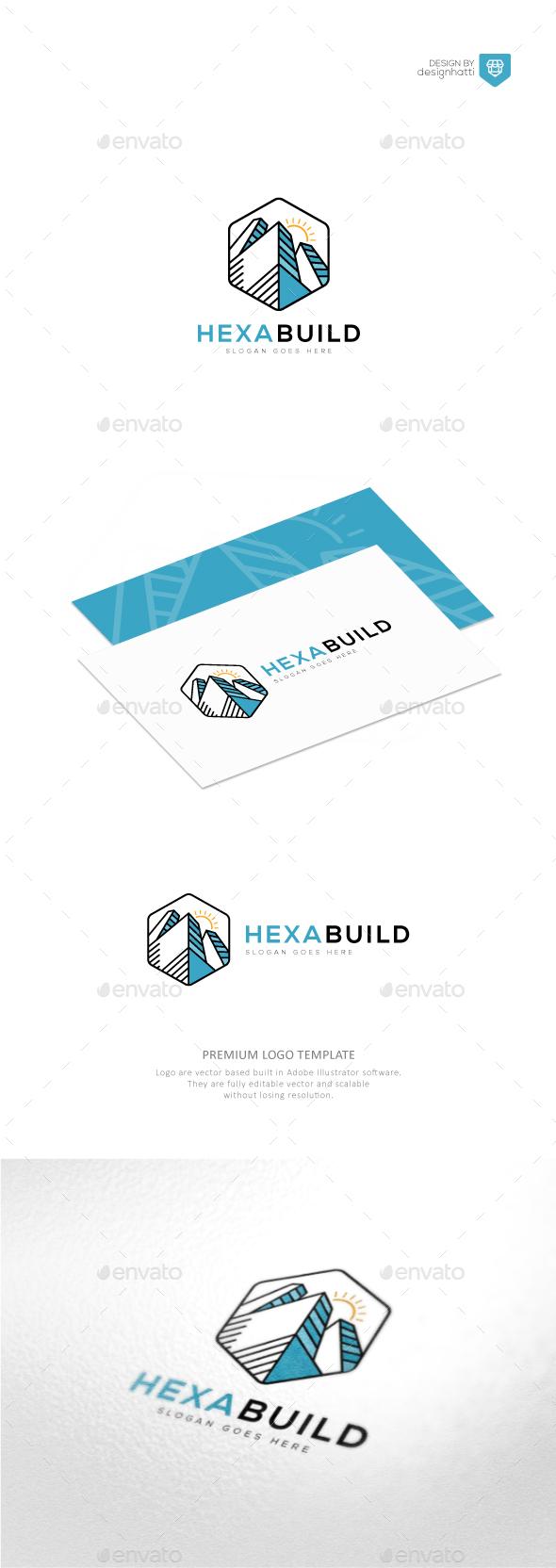 Hexagon Building Logo - Buildings Logo Templates
