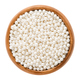 White nonpareils in wooden bowl over white background - PhotoDune Item for Sale