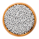 Silver nonpareils in wooden bowl on white background - PhotoDune Item for Sale