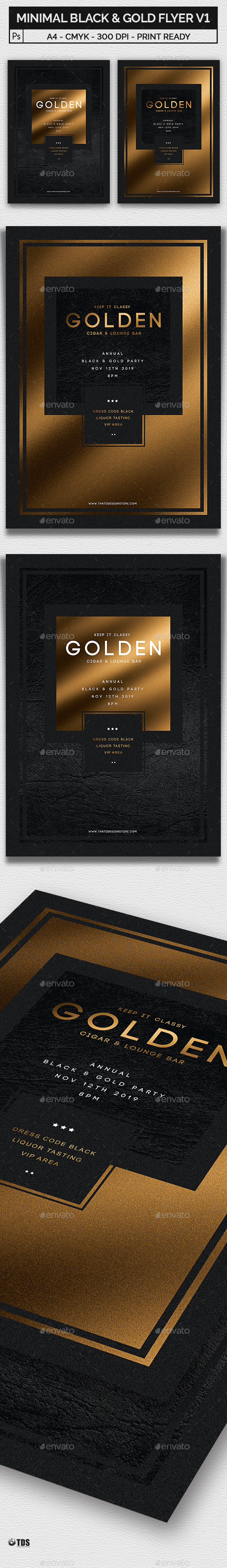 Minimal Black and Gold Flyer Template V1 - Clubs & Parties Events