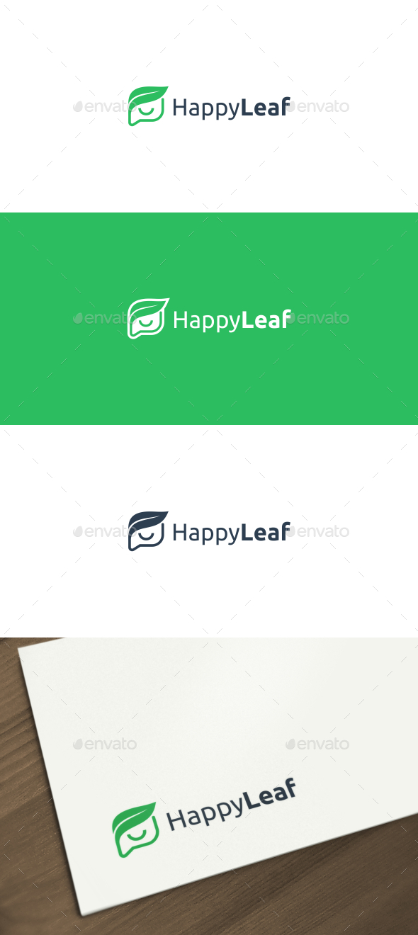 Happy Leaf Logo - Nature Logo Templates