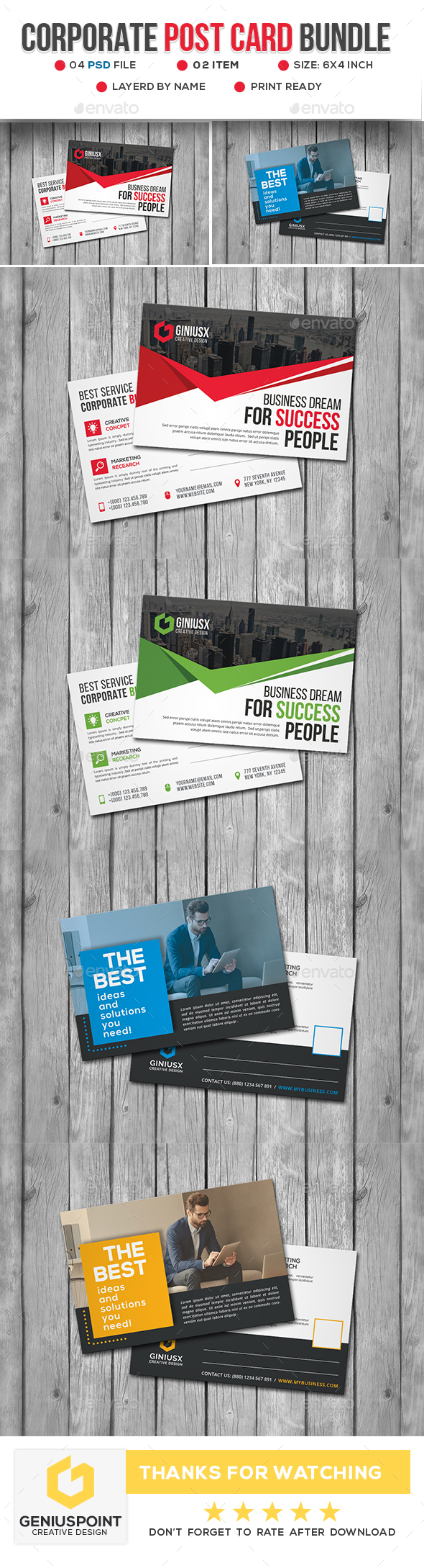 Corporate Post Card Bundle - Cards & Invites Print Templates