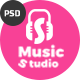 Music Studio-Online Music Portal and Community PSD Template