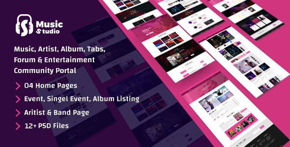 ThemeForest Music Studio-Online Music Portal and Community PSD Template 21066215