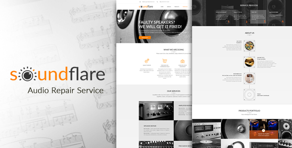 SoundFlare - Hi-Fi Audio Repair Service Landing Page HTML5 Template