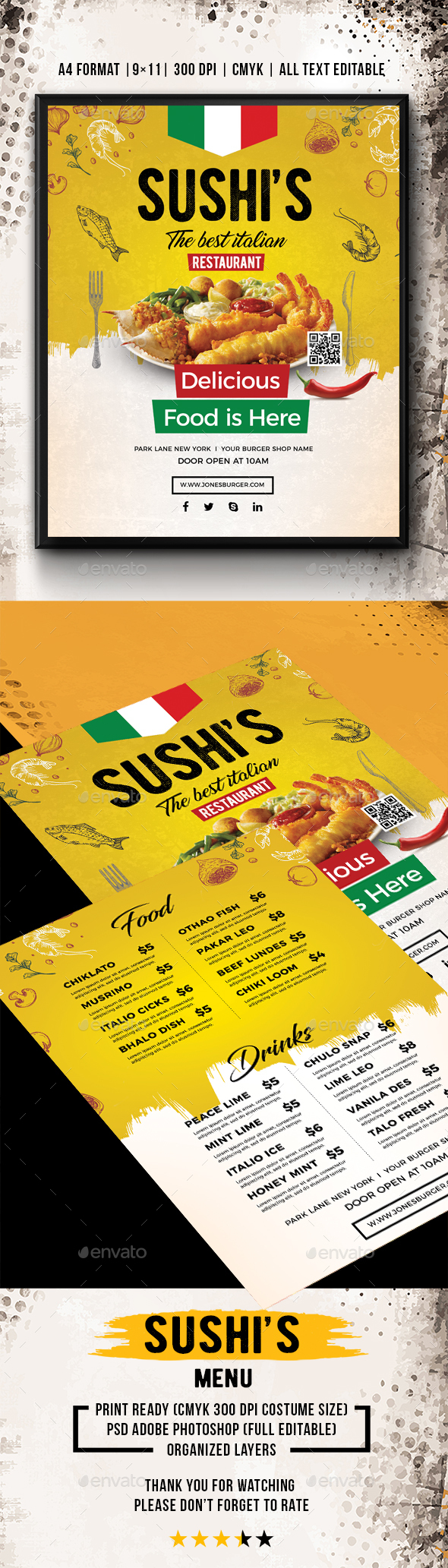Sushi's Restaurant Menu - Food Menus Print Templates