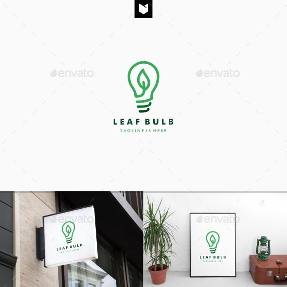 Leaf Bulb eco Idea Logo design - Nature Logo Templates