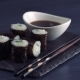 Sushi Roll on Black Slate Plate in Japanese Restaurant - VideoHive Item for Sale