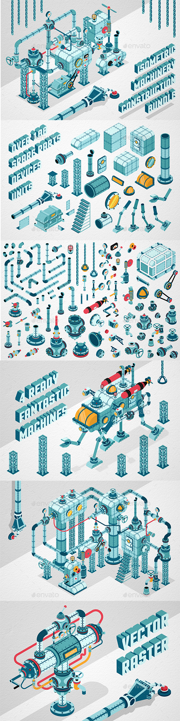 Isometric Machinery Construction Kit - Miscellaneous Vectors