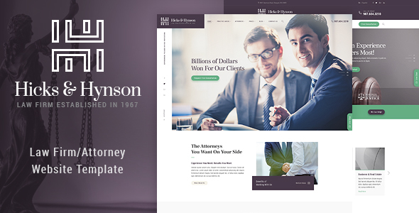 Image of Hicks & Hynson - Law Firm HTML Template