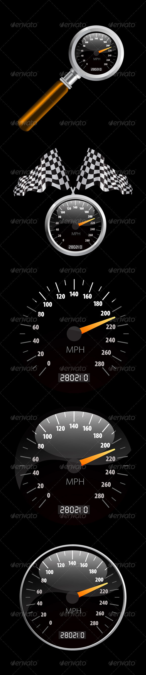 Speedometer Set - Man-made Objects Objects