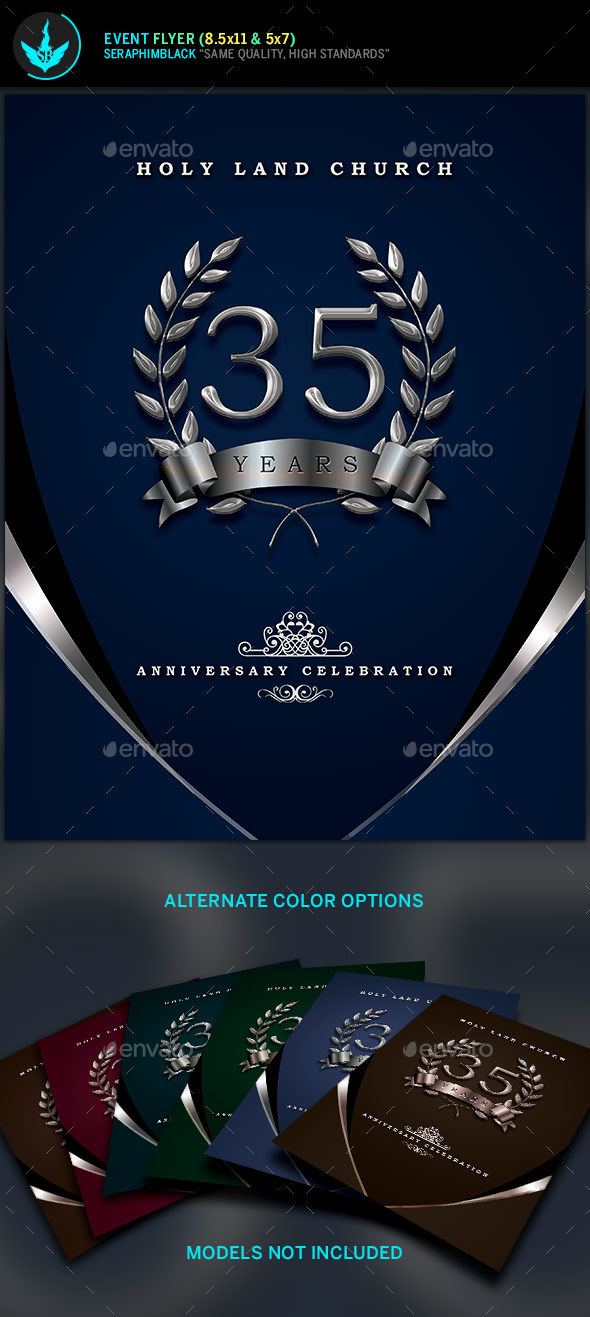 Silver Navy Blue Anniversary Flyer Template - Church Flyers