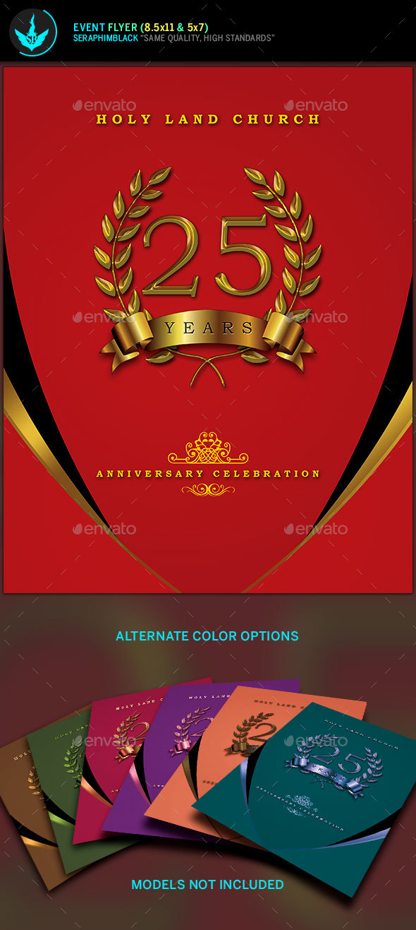 Crimson Gold plus Black Anniversary Flyer Template - Church Flyers