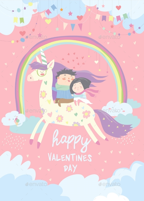 Couple in Love Riding on Unicorn - Miscellaneous Vectors