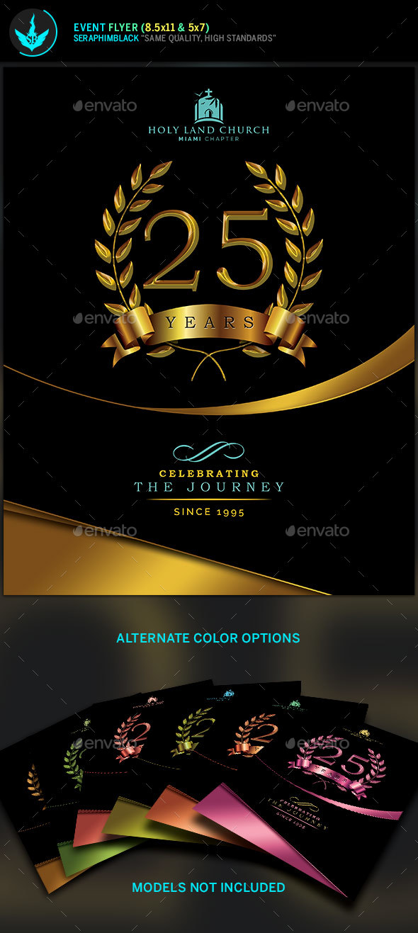 Gold Black Plus Teal Anniversary Flyer Template By Seraphimblack