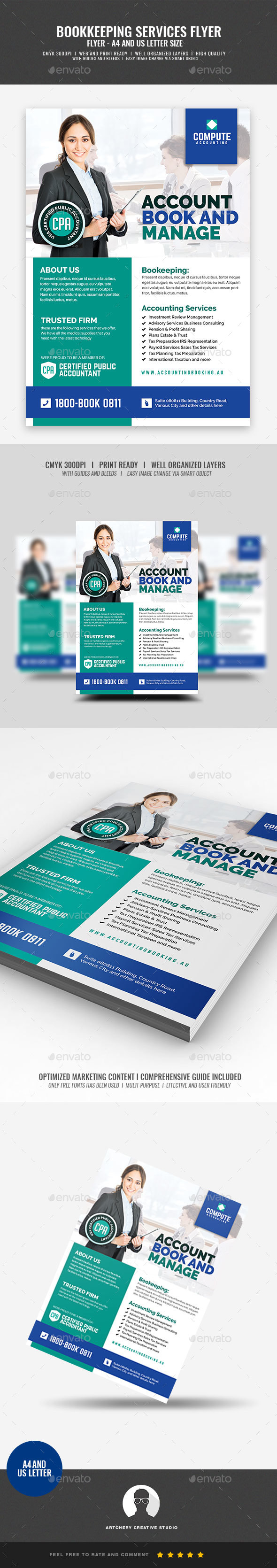 Accounting and Bookkeeping Services Flyer - Corporate Flyers