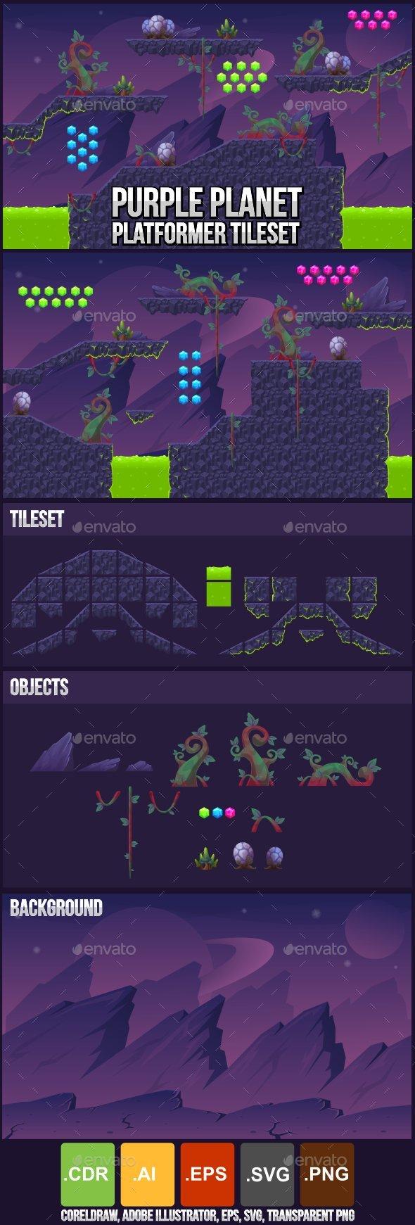 Purple Planet - Platformer Tileset - Tilesets Game Assets