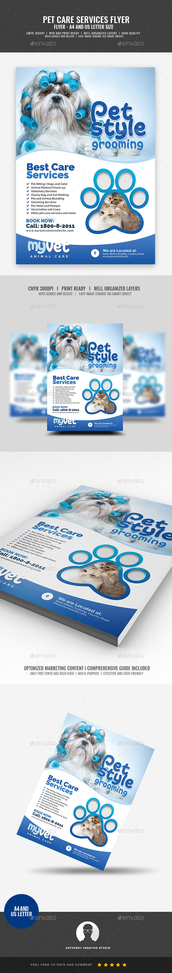 Pet Grooming and Veterinary Services Flyer - Corporate Flyers