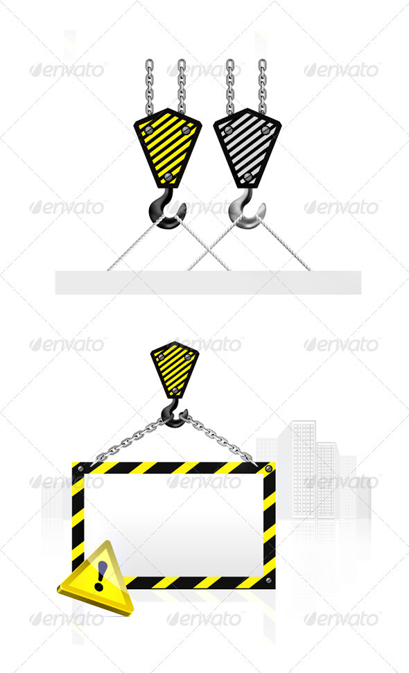 Crane Hook With Blank Poster - Buildings Objects