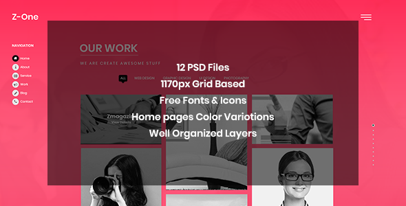 Z-One - Portfolio Fullpage PSD Template