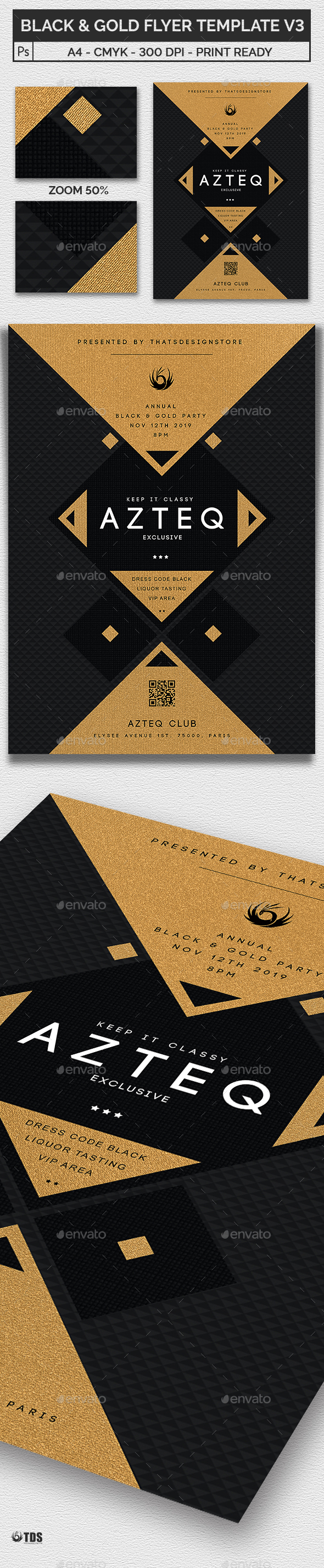 Minimal Black and Gold Flyer Template V3 - Clubs & Parties Events