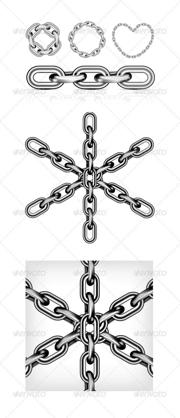 Collection Of Metal Chain Parts - Man-made Objects Objects