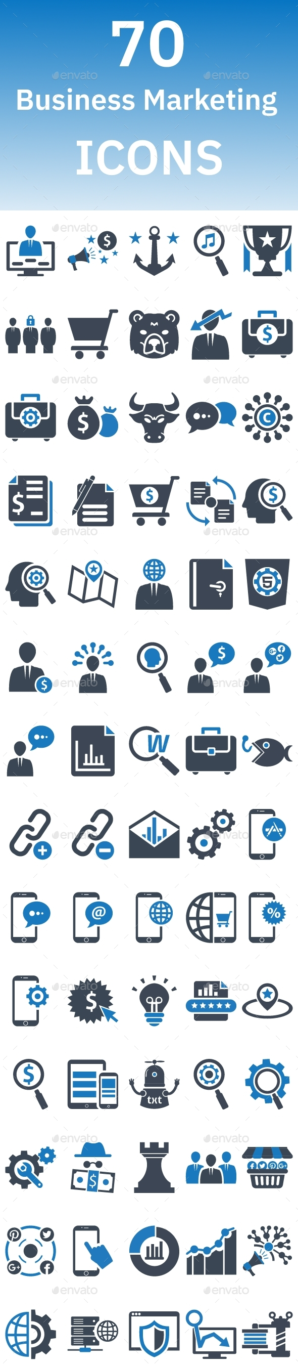 70 Business Marketing Icons - Business Icons