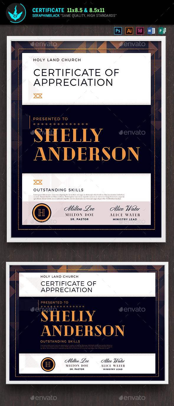 Art Deco Modern Church Certificate Template - Certificates Stationery