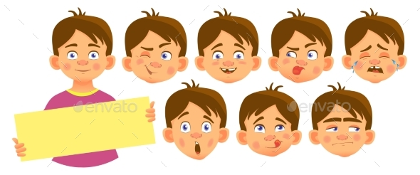 Boy Holding Blank Poster Set - Miscellaneous Vectors