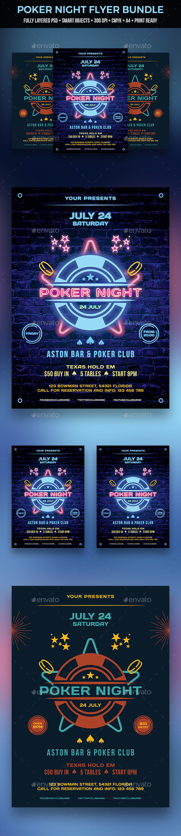 Poker Night Flyer Bundle - Clubs & Parties Events