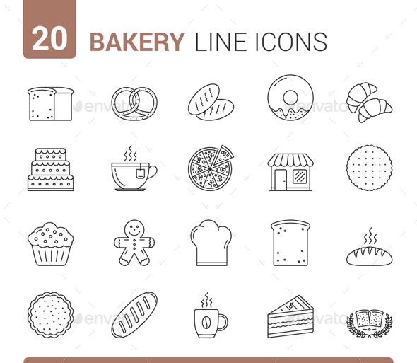 Bakery Line Icons - Food Objects