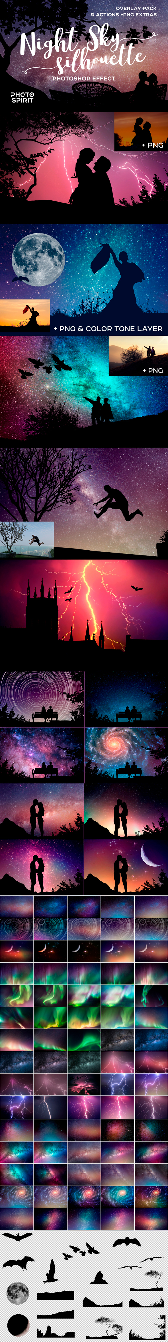 Night Sky Silhouette Actions - Photo Effects Actions
