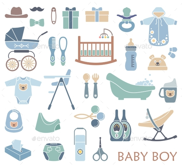 Baby Boy Icons - Food Objects