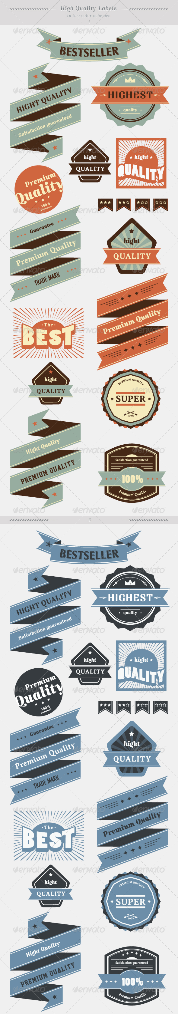 High Quality Labels Whit Vintage Design Stock Vect - Decorative Symbols Decorative