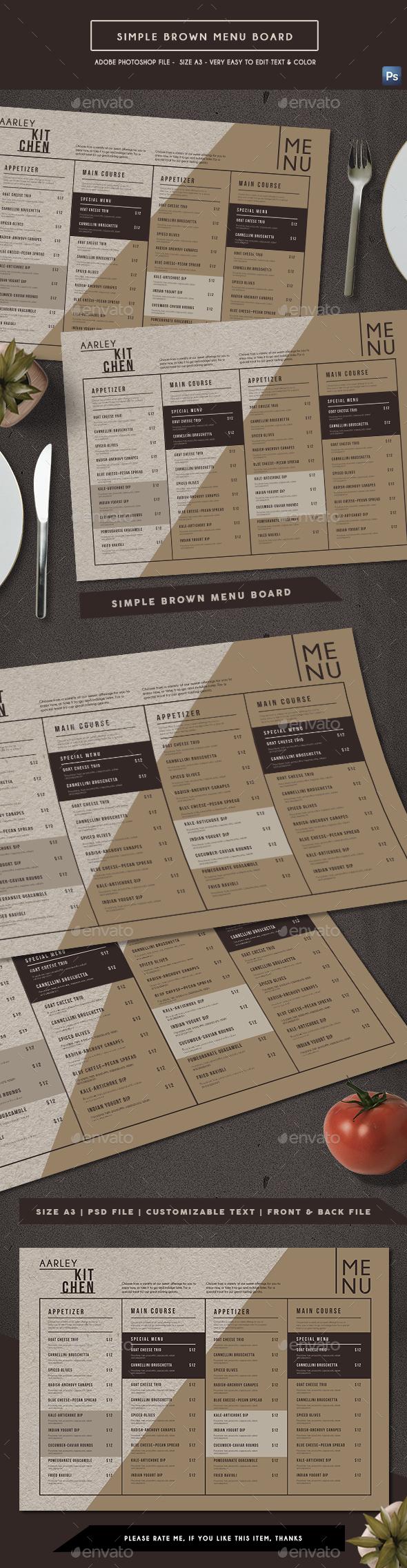 Simple Brown Menu Board - Food Menus Print Templates