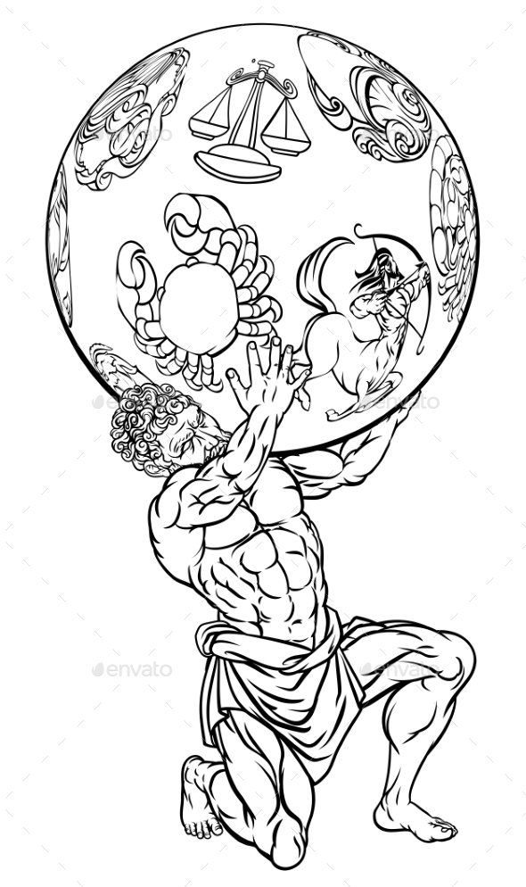 Atlas Greek Mythology Illustration - People Characters
