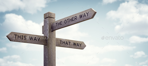 Which way to go road sign - Stock Photo - Images